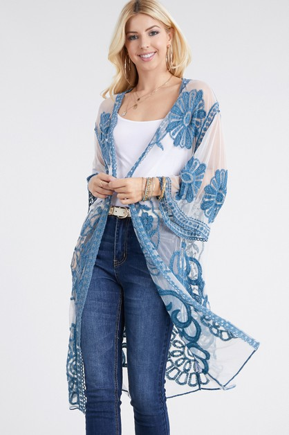 ALL LACE LONG SLEEVE SHAWL CARDIGAN - orangeshine.com