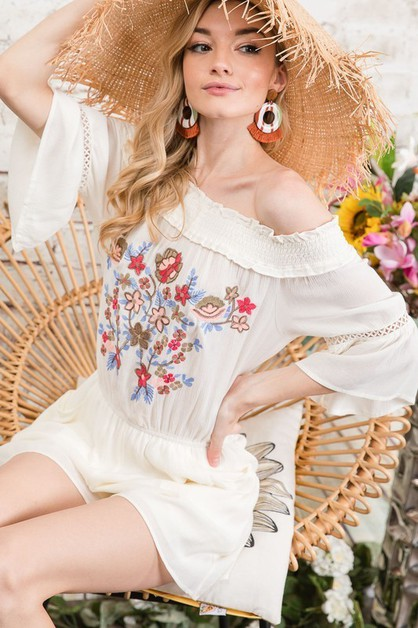 FLORAL EMBROIDERED OFF SHOULDER ROMP - orangeshine.com