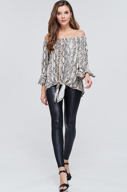 Snake Ruffled Bell Sleeve Knit Top - orangeshine.com