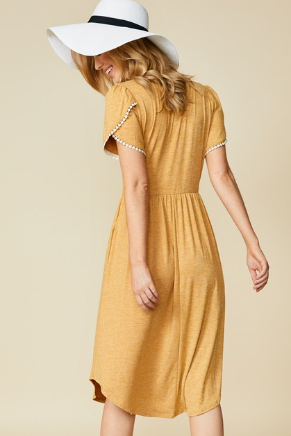 Tulip Sleeve Midi Dress - orangeshine.com