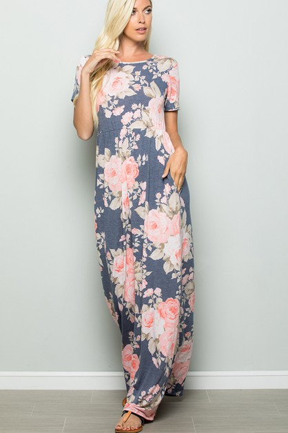 FLORAL MAXI DRESS WITH SIDE POCKET - orangeshine.com