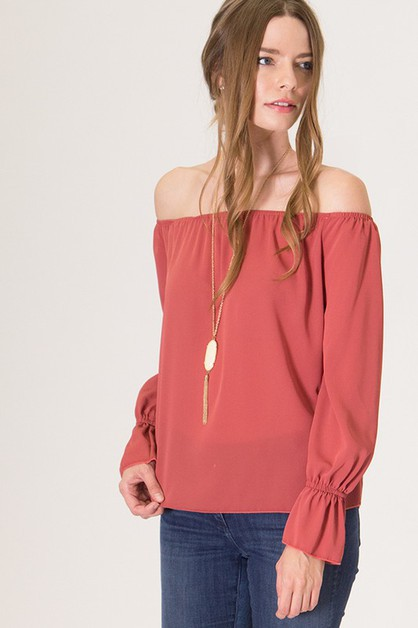 Off Shoulder Chiffion Top - orangeshine.com