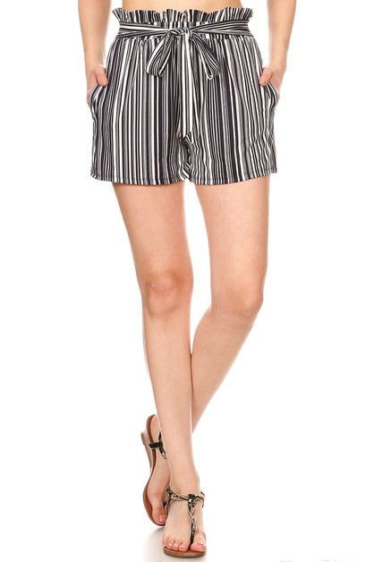 Stripes Paper Bag Waist Shorts Boho - orangeshine.com