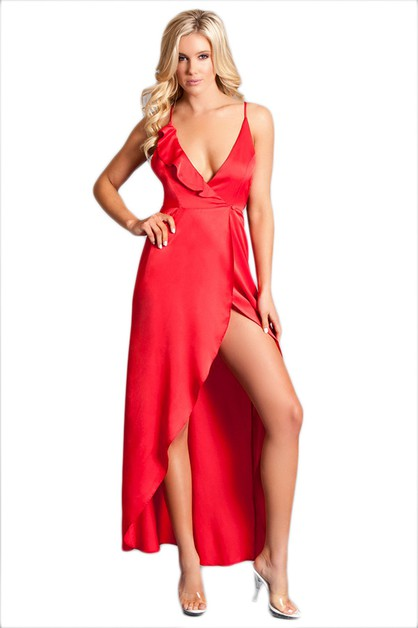 Plunging High Slit Maxi Dress - orangeshine.com