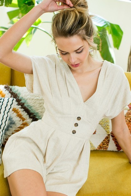 Pleated V Neck Romper with Button Fr - orangeshine.com