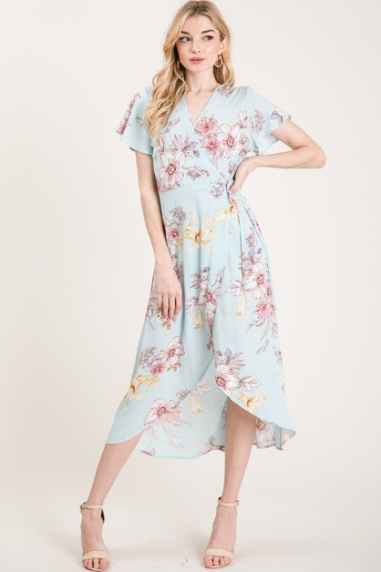 FLORAL PRINT WRAP DRESS - orangeshine.com
