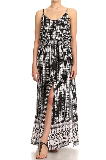 Boho Tribal Aztec Maxi Dresses Black - orangeshine.com