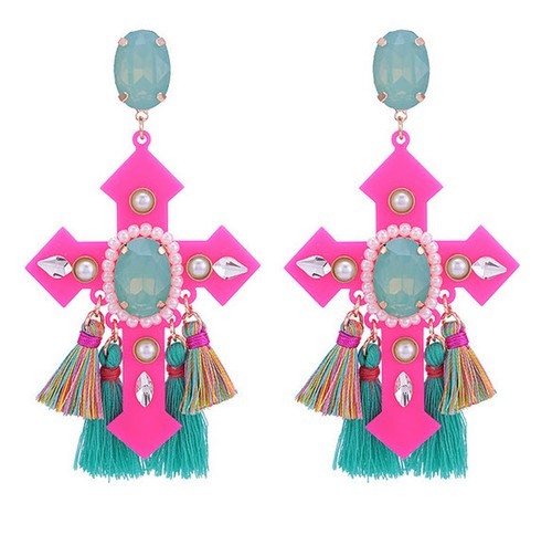 Boho Crystal Crosss Drop Earrings - orangeshine.com