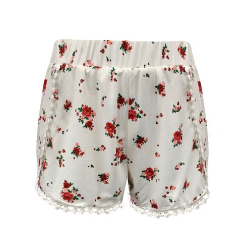 Girls White Floral kids Shorts Boho - orangeshine.com