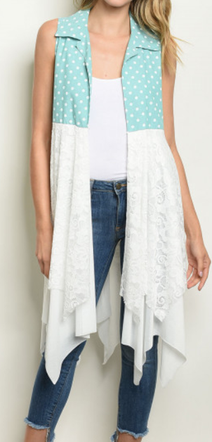 Polka Dot Vest With Lace - orangeshine.com