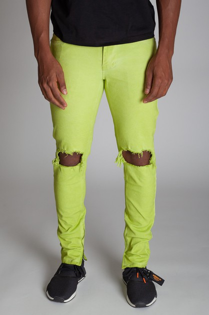 PIGMENT DYE ANKLE ZIP PANTS - orangeshine.com