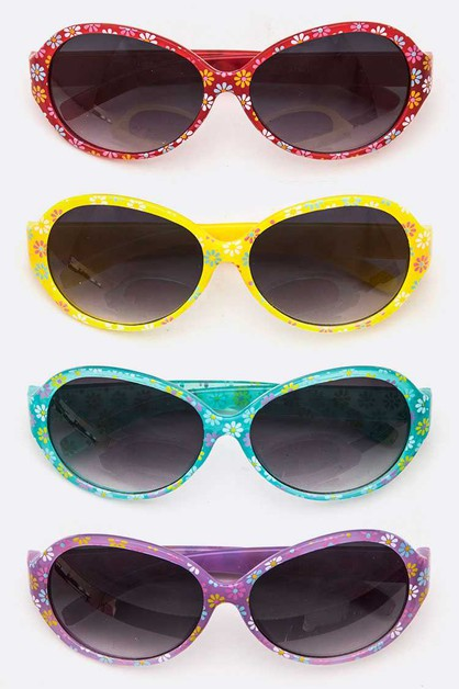 Flower Printed Kids Sunglasses Set - orangeshine.com