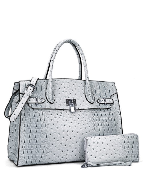 Ostrich embossed Large Satchel  - orangeshine.com