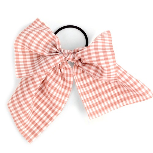 Lady Pink Checkered Ribbon Hair Tie - orangeshine.com