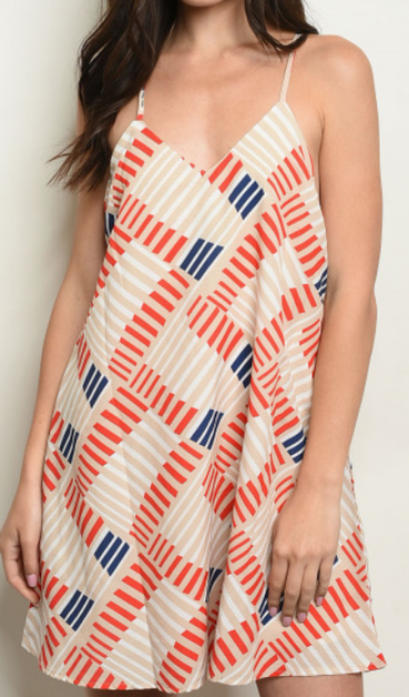 Geometric Print Dress - orangeshine.com