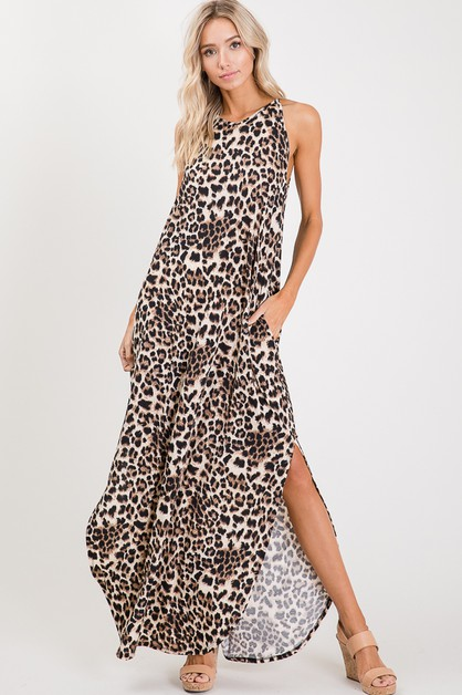 ANIMAL SLIT MAXI DRESS WITH POCKETS - orangeshine.com