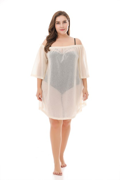 Plus size Off Shoulder Beach Wear  - orangeshine.com