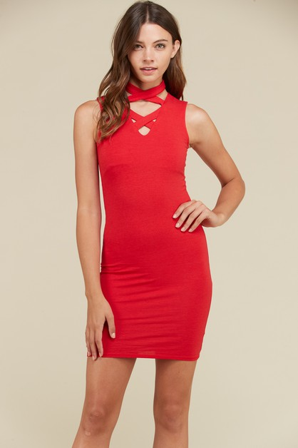 CROSS NECK DRESS - orangeshine.com