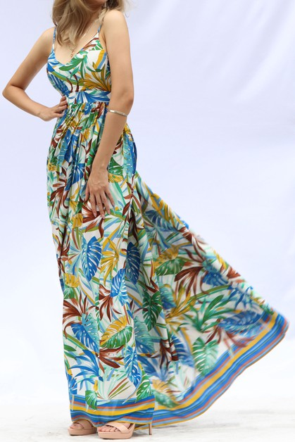 BORDER PRINTED MAXI DRESS OPEN BACK - orangeshine.com