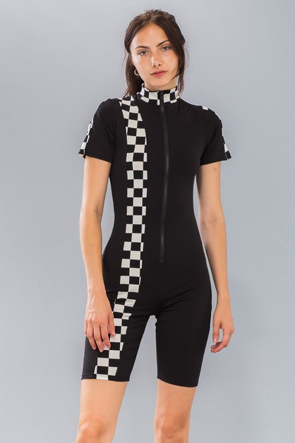 Check Panel Racing Romper - orangeshine.com