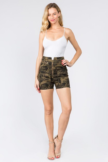 HIGH WAIST 3D POCKET SHORTS - orangeshine.com