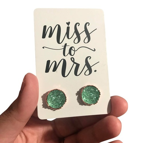Miss to Mrs Mint Studs - orangeshine.com
