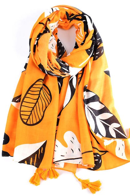 Tropical Leaves Scarf Shawl  - orangeshine.com