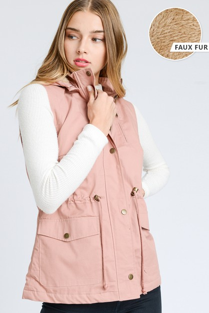 Faux Fur Lined Hooded Anorak Vest  - orangeshine.com