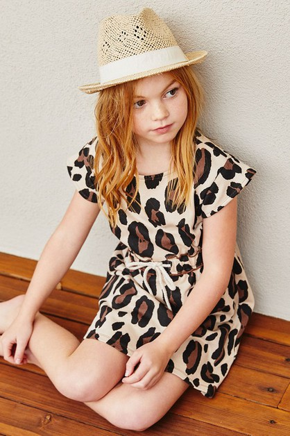 Kids Leopard French Terry Dress - orangeshine.com