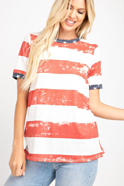 STRIPE ROUND NECK TOP - orangeshine.com