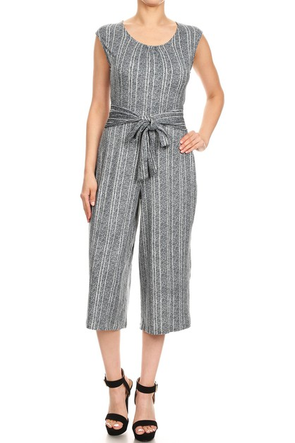 Grey Stripe Wide Legs Jumpsuits Crop - orangeshine.com