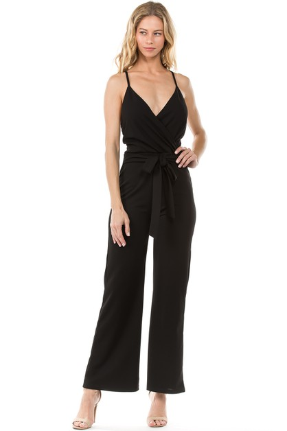 Bare-back Front Self-tie Jumpsuit - orangeshine.com