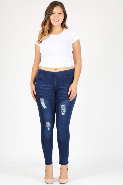 Plus Size Distressed Jeggings Pants - orangeshine.com