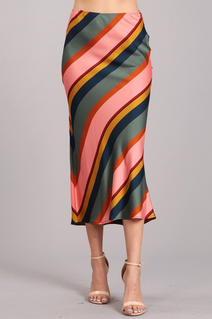 Striped High Rise Skirt - orangeshine.com