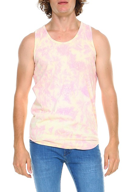 Mens Tie Dye Premium Cotton Tank  - orangeshine.com