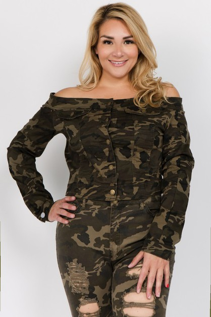 PLUS SIZE OFF SHOULDER CROPPED JACKE - orangeshine.com