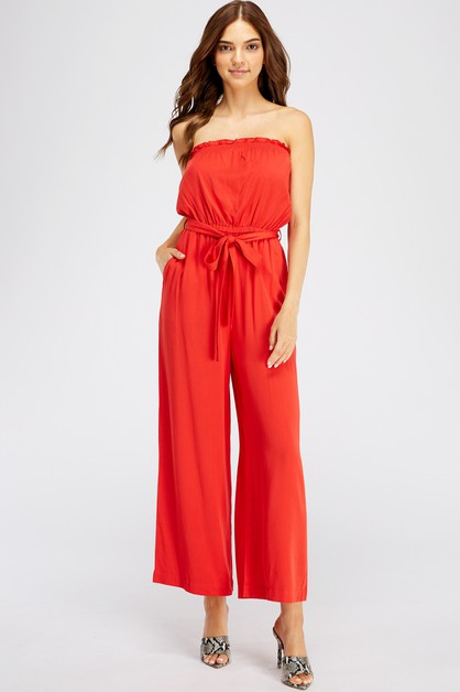 OFF-SHOULDER BELTED JUMPSUIT        - orangeshine.com