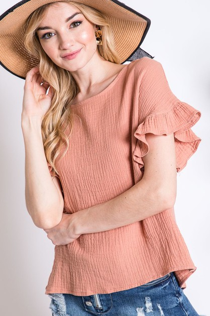 SOLID RUFFLE DETAIL TEXTURED TOP - orangeshine.com