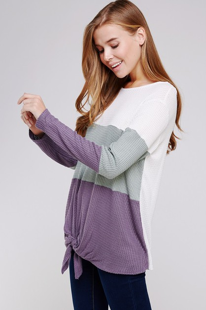 Color Block Waffle Knit Long Sleeve  - orangeshine.com