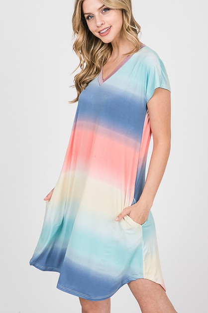 MULTI COLOR OMBRE DRESS WITHPOCKET - orangeshine.com