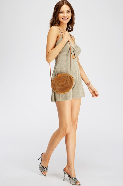 KNIT MELANGE ROMPER WITH KEYHOLE     - orangeshine.com