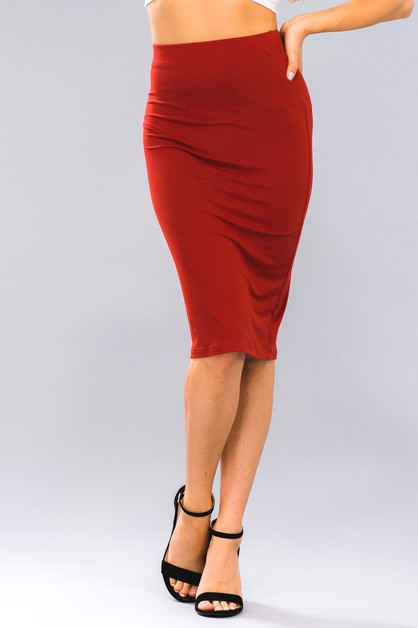 Solid Pencil Skirt - orangeshine.com