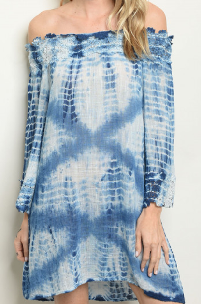 Off Shoulder Tie Dye Dress - orangeshine.com