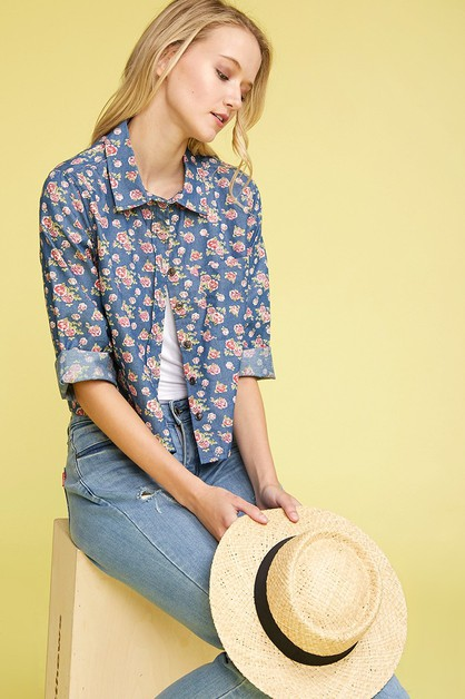 Chambray Button Down Floral Crop Top - orangeshine.com