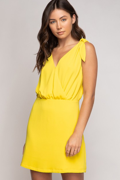 TANK MINI SHOULDER TIE DRESS  - orangeshine.com