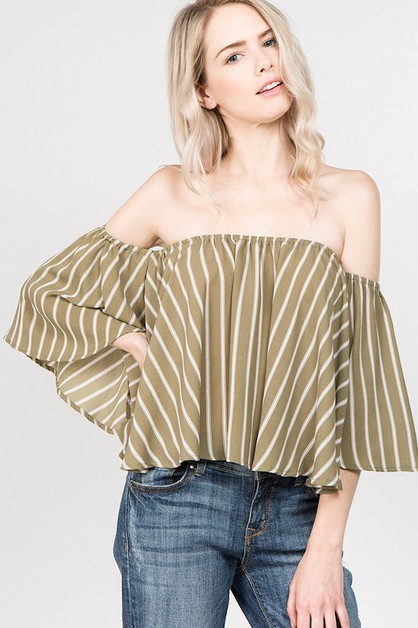 Stripe Off Shoulder Ruffle Top - orangeshine.com