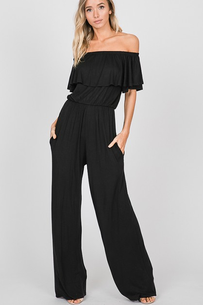 OFF SHOULDER SOLID JUMPSUIT - orangeshine.com