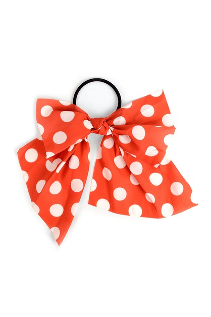 Red Polka Dots Ribbon Hair Tie - orangeshine.com