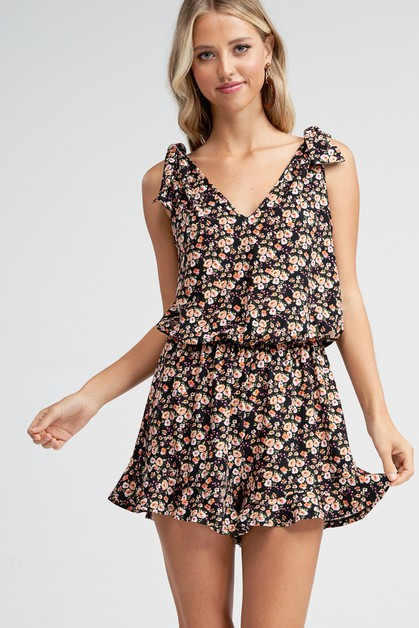 Floral Bow Detail V-neck Knit Romper - orangeshine.com