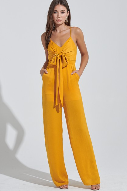 SATIN RIBBON TIE JUMPSUIT - orangeshine.com